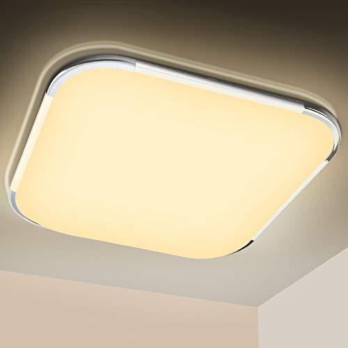 Hengda LED Lámpara de Techo 36W 2880LM, Blanco Cálido 3200K, Plafón Led de Techo, lamparas de techo Para Sala de estar Baño Dormitorio Cocina Comedor Oficina Balcón, IP44 Impermeable