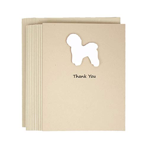 Bichon Frise Thank You Cards | Handmade White Dog Greeting Cards | 10 Pack Blank Inside | Kraft Brown with Envelopes