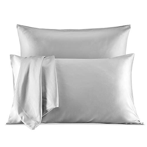 SLEEP ZONE 2-Pack Silky Soft Satin Pillowcases for Hair and Skin, King Size (20x40 inches) Luxury Pillow Covers with Envelope Closure, Silver Grey