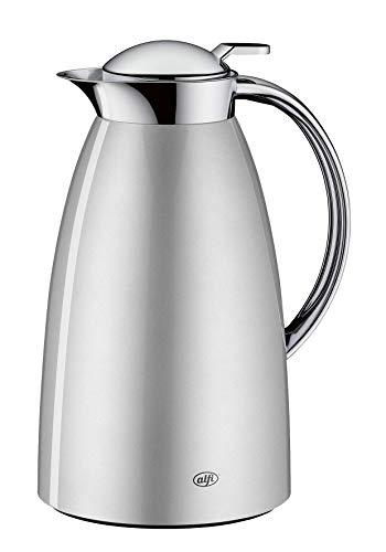 alfi 3561.269.100 Isolierkanne Gusto, Edelstahl Ice-Silver 1,0 l, Absolut dicht, zerlegbarer Verschluss, 12 Stunden heiß, 24 Stunden kalt