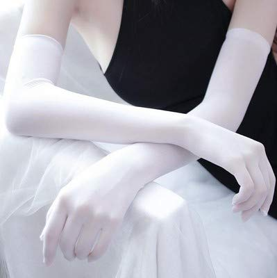 Moda Sexy Ultra Delgado Protector Solar Guantes Largos de Encaje Verano Mujer Dedo Completo Elástico Anti UV Ciclismo Guantes de conducción-White-One Size
