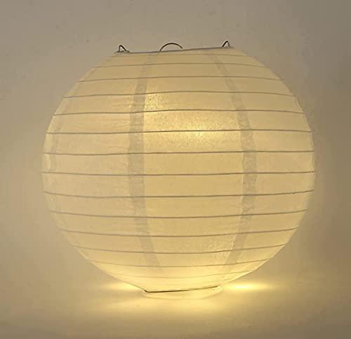 Farolillo de papel blanco redondo con pantalla de lámpara, para fiestas y jardines, con 4 luces LED