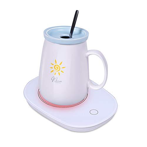 Limón Calentador de taza de café de acero inoxidable para apagar y apagar la bebida, calentador termostático eléctrico, calentador de taza inteligente para la oficina y el...