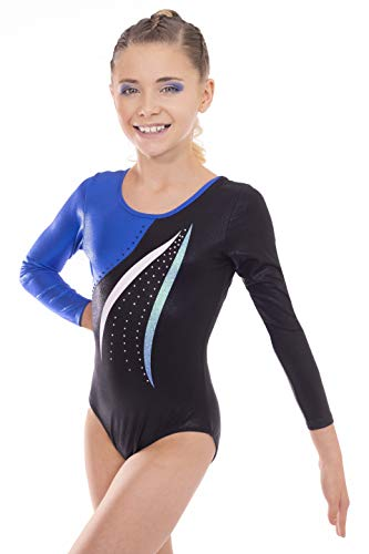 Vincenza Dancewear Mambo Girls Long Sleeved Leotard for Gymnastics (11-13 Years, Blue)
