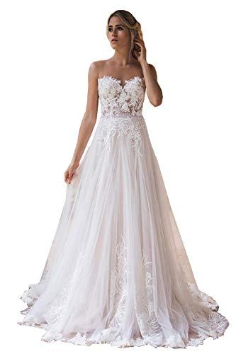 Nanger Damen Tüll Spitze Hochzeitskleider Lange Standesamt A Linie Brautkleider Strand Boho Elfenbein 38
