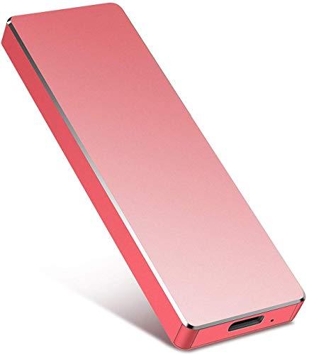 Disco duro externo portátil de 2 TB HDD externo ultra delgado compatible con PC, Mac, ordenador de sobremesa, portátil (2 TB, rojo)