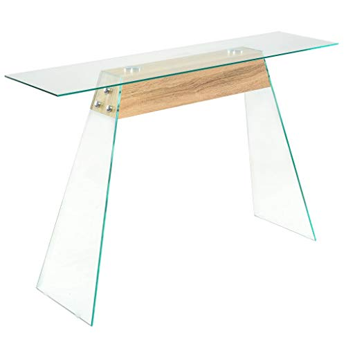 vidaXL Tavolino Consolle in MDF e Vetro Colore Quercia Tavolo Laterale Salotto