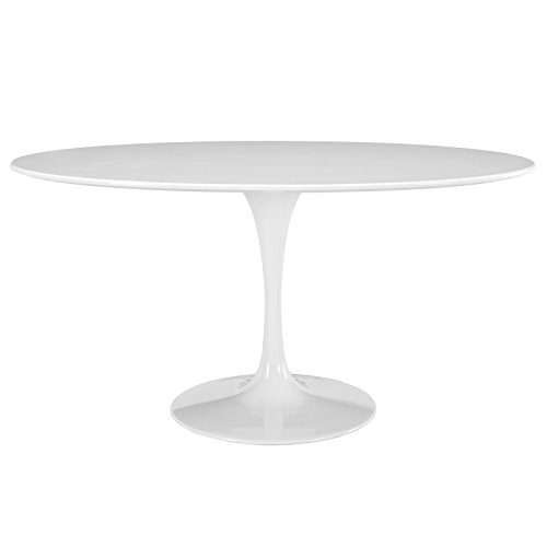 Modway Lippa 60' Mid-Century Modern Dining Table with Oval Top and Pedestal Base in White