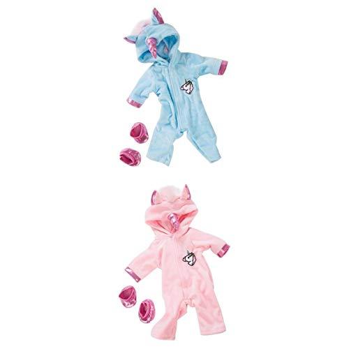 SaniMomo Juego de 2 muñecos de 45,72 cm, mono de unicornio, pijama para ropa de dormir de 18 pulgadas, accesorios de vestir de muñeca americana