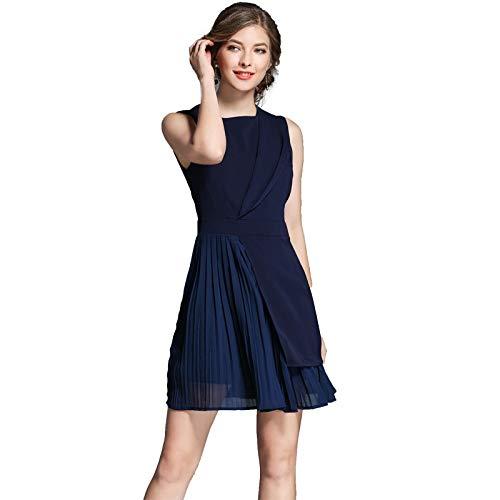 QUNLIANYI Kleider Lang Bürodame Ärmellos Geraffte Arbeitskleidung Kleid Frauen Solide Marineblau...