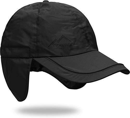 normani Regenmütze Cap verstellbar mit Ohrenschutz 100% Wasserdicht [S-3XL] Farbe Schwarz Größe XXL/63
