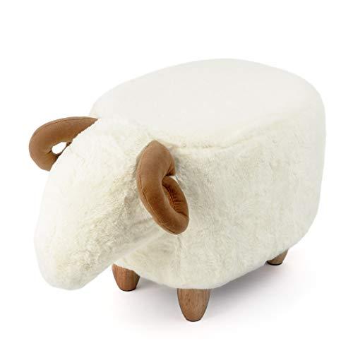 Balvi Sgabello Le Mouton Colore Bianco A Forma di Pecora Gambe in Legno Poliestere/Legno