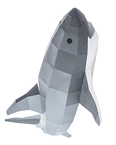 Kit DIY Weißer Hai für die Wand Papercraft Kit Wandtrophäe Pappe 3D Origami Skulptur 3D Puzzle 3D VORGESCHNITTEN