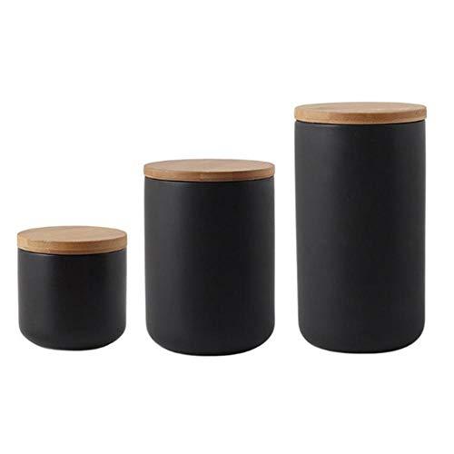 Keramikdose mit Deckel, Küchenbehälter-Set mit luftdichtem Deckel, Bambus-Deckel, schwarz weiß, Vorratsdose für Tee, Kaffee, Bohnen, Zucker, Mehl (schwarz: 3 Stück)