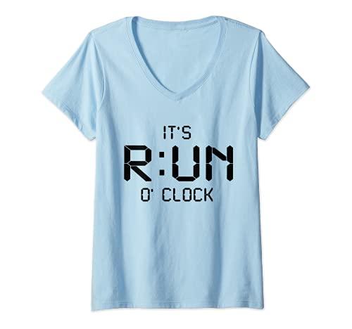 Mujer Me corre en punto - correr entrenamiento maratón correr Camiseta Cuello V