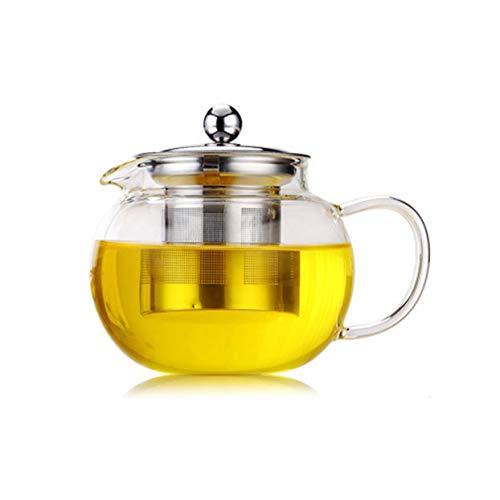 Tree-on-Life Hohe Temperaturbeständigkeit Klare Borosilikatglas-Teekanne Elegante Glasteetasse-Teekanne mit Edelstahl-Infuser