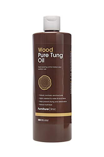 Furniture Clinic Pure Tung Oil (500 ml) - A Natural, Food Safe Wood Oil for Kitchen Worktops,...