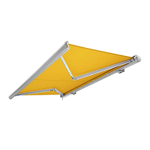 Nemaxx Kassettenmarkise elektrisch Vollkassettenmarkise mit LED, Markise gelb, Kassette weiß, Funk Fernbedienung, wasserdicht 350x300 cm (3,5x3m)