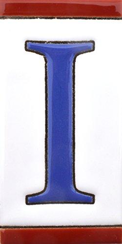 ART ESCUDELLERS Numeros y Letras en azulejo de Ceramica, Pintados a Mano en técnica Cuerda Seca para Nombres, direcciones y señaléctica. Diseño USA Mediano 10,9 cm x 5,4 cm. (Letra I)