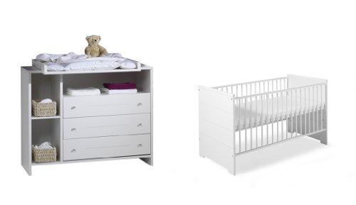 Schardt Sparset Eco Stripe bestehend aus Kombi-Kinderbett 70x140 cm (inklusive Umbauseiten) und Wickelkommode mit Wickelaufsatz