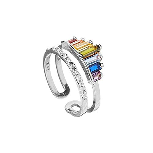 BestTas Double Band Rainbow Rings for Women, Adjustable Wide Band Stacking Rainbow Rings - Opening Rings Engagement Wedding Anniversary Ring (Silver)