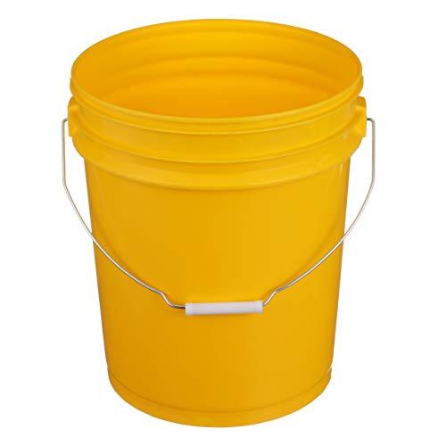 Seachoice 90120 5-Gallon Plastic Bucket with Metal Handle Yellow