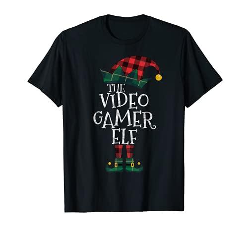 The Video Gamer Elf Matching Family Group Regalo Divertido Navidad Camiseta