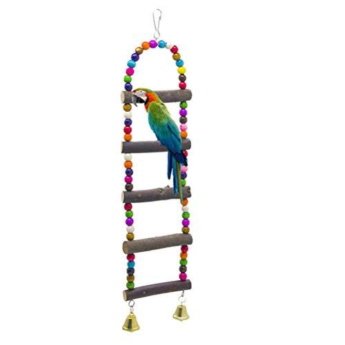 ZHER-LU Loro mordeduras escalera de cuero Campana Escalera de madera Juguete para pájaros loros Budgie Parakeet Cockatiel Guacamayo Gris Africano Cockatoo Rata Gerbil Ratones - 40 cm (Modelo #1)