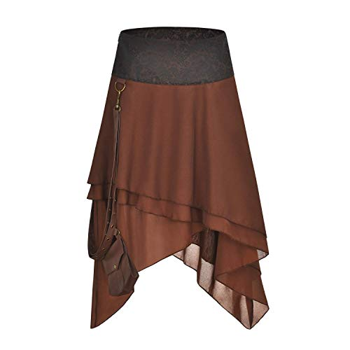 FLYFISH - Falda gótica para mujer, talla grande, estilo vintage, estilo steampunk Marrón-b XXL/cintura = 90 cm