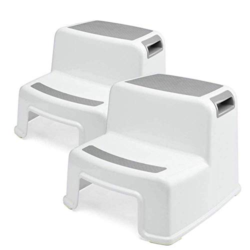Toddler Step Stool for Bathroom 2 Pack Sink Stool,Non Slip Design BPA Free(Pack 2 Gray)