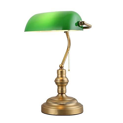 BarcelonaLED Lámpara de mesa y escritorio estilo Banquero vintage retro con pantalla de cristal color verde y latón para bombilla E27 LED despacho salón americano banker oficina dormitorio cabecero