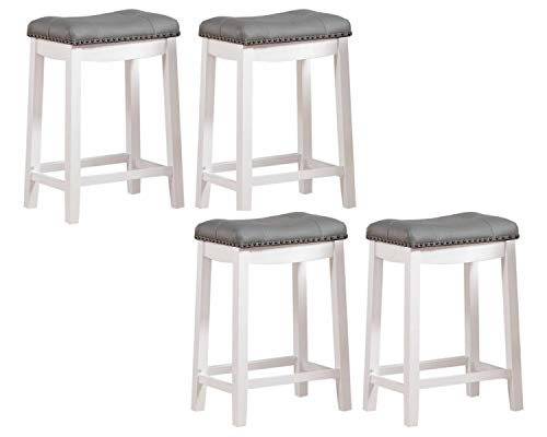 "Angel Line Cambridge bar stools, 24"", White with Gray Cushion (A White with Gray Cushion, 4 Pack 24"")"