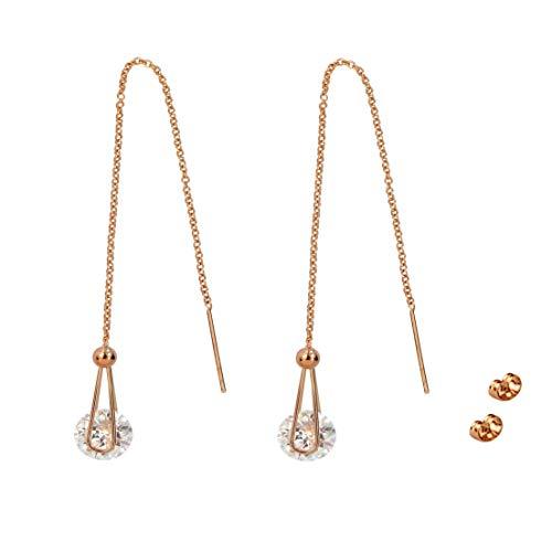 Creamtree Top Trendy Style - Orecchini saliscendi a catena lunga, con zirconi cubici e nappa a goccia, placcati in oro rosa, da infilare attraverso il lobo