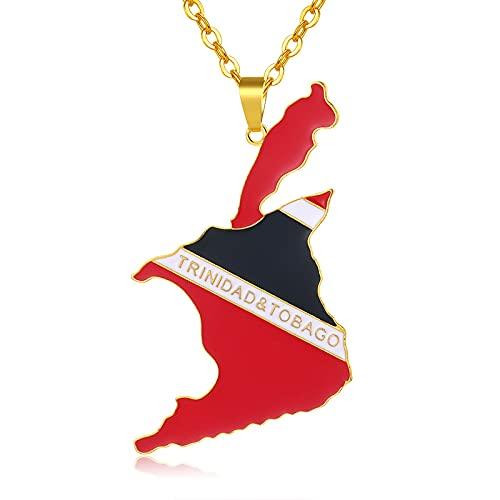YUANYIRAN Mapa Trinidad Y Tobago Collares Colgantes - Patriótico Encanto Étnico África Bandera Collares,Oro Color Clásico Hip Hop Joyería para Mujeres Hombres Tendencia Fiesta Regalo,45Cm