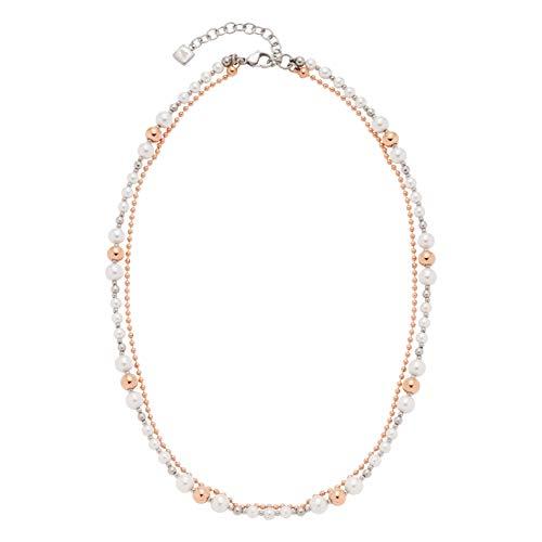 Jewels by Leonardo Damen-Halskette Virtuoso, Edelstahl IP roségold mit weißen Imitations- und 2-farbigen Edelstahlperlen, Länge 420 mm, 016655