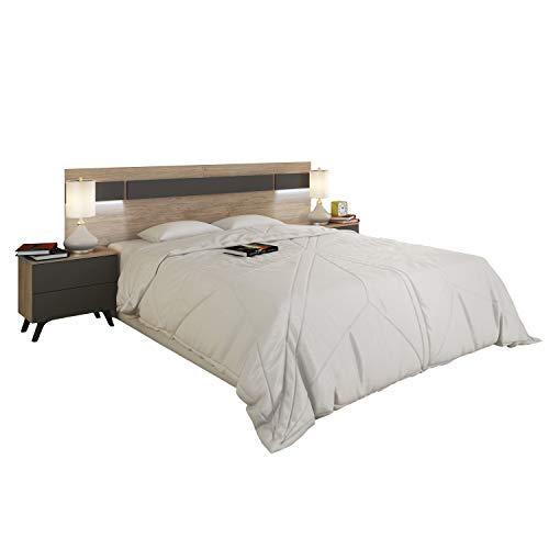 duehome HomeSouth - Cabezal con Led para Cama de Matrimonio, cabecero Modelo Soto, Acabado en Color Roble y Grafito, Medidas: 210 cm (Ancho) x 55 cm (Alto) x 3 cm (Fondo)