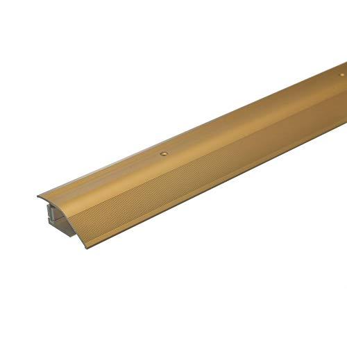 acerto 35985 Alu Höhenausgleichsprofil 12-22mm Inkl. Schrauben Übergangsprofil für Laminat Parkett & Teppich Übergangsleiste Bodenprofil für Fußböden Übergangsschiene (90 cm, gold)