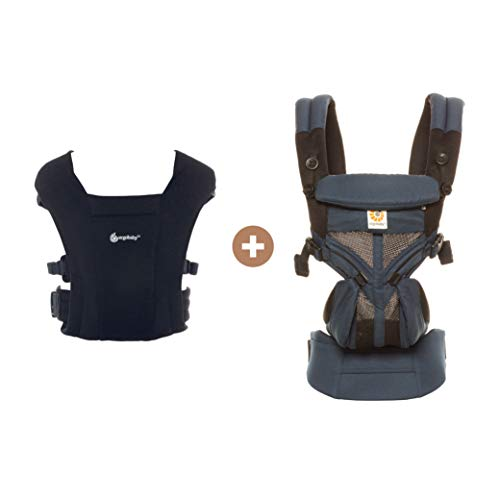 Embrace Newborn Carrier (Black) and Omni 360 Cool Air Mesh All-Position Baby Carrier (Raven) Bundle