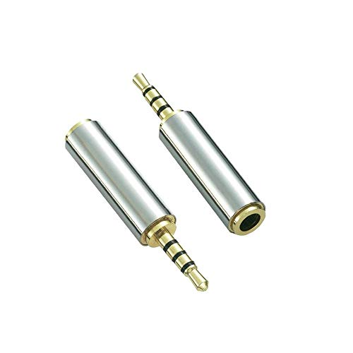 Gold Plated 2.5mm Male to 3.5mm Female Stereo Audio Headphone Adapter Converter Jack (2 Pack)