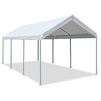 Abba Patio 10 x 20 ft Outdoor Heavy Duty Carport Car Canopy Portable Steel Garage Tent Boat Shelter for Party Wedding Garden Storage Shed White 8 Legs