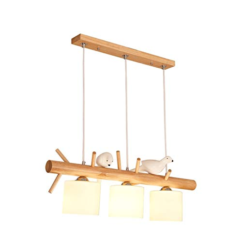 Lámpara Colgante De Madera 3 Altura De Llama Ajustable E27 Araña, Mesa De Comedor Nórdica Lámpara Colgante, Con Sombra De Cristal Blanca Para Comedor Oficina Oficina