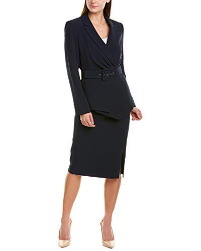 Tahari by ASL Belted Jacket w/Pencil Skirt Set Navy 12