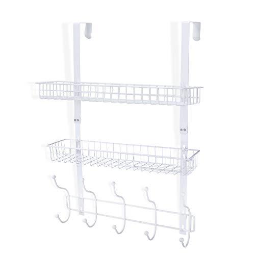 Coat Rack, MILIJIA Over The Door Hanger with Mesh Basket, Detachable Storage Shelf for Towels, Hats, Handbags, Coats (White-2 Layer)