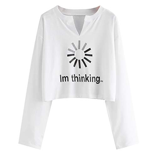 Long Sleeve Crop Tops for Women,Memela Ladies Autumn Winter Casual V-Neck Letter Printing T-Shirt Short Tee Shirts Pullover White