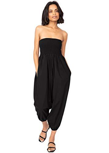 likemary Pantaloni Harem in Cotone da Donna, Tuta Jumpsuit 2 in 1 Convertibile in Stile Etnico con Top Integrato Nero