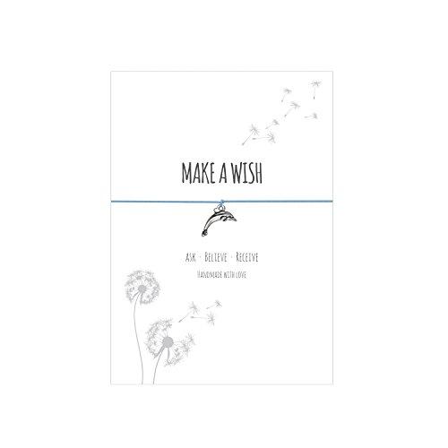 Glücksschmiedin Make a WISH- Bracciale desiderio con ciondolo delfino argentato, cinturino in tessuto elastico azzurro e carta affettuosa: ask-believe-receive