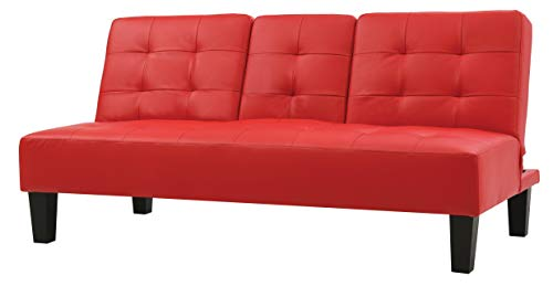 "Glory Furniture Richie Sofa Bed, Red. Living Room Furniture 33"" H x 71"" W x 39"" D"