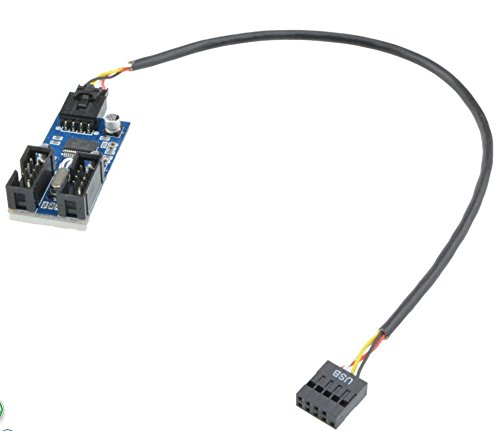 Motherboard 9pin USB Header to 2 Male Extension Cable Card 9-Pin HUB USB 2.0 9 pin Connector Port Splitter