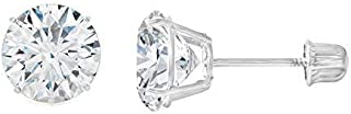 14K Gold Round Solitaire Cubic Zirconia CZ Stud Screw Back Earrings in Yellow OR White (Various Sizes)