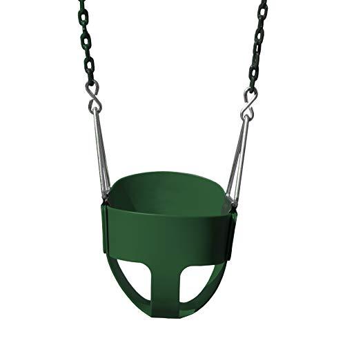 "Gorilla Playsets 04-0008-G/G Full Bucket Toddler Swing, Bucket, Green 60"" Plastic Coated Chains, 50 Lb Capacity"
